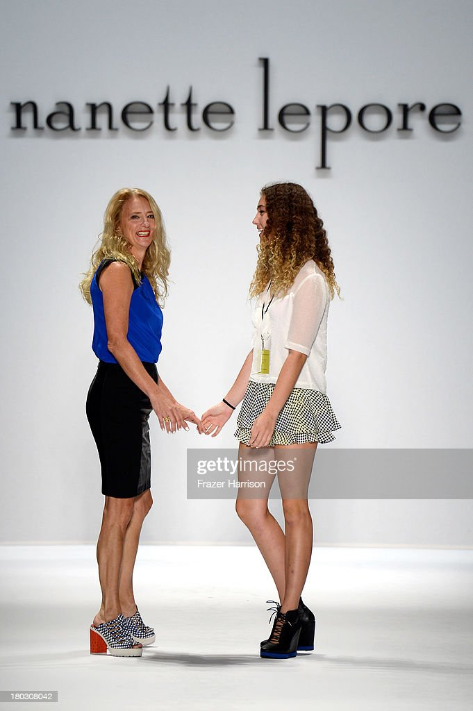 Violet Lepore and designer <a gi-track='captionPersonalityLinkClicked' href=/galleries/search?phrase=Nanette+Lepore+-+Fashion+Designer&family=editorial&specificpeople=5410475 ng-click='$event.stopPropagation()'>Nanette Lepore</a> walk the runway at the <a gi-track='captionPersonalityLinkClicked' href=/galleries/search?phrase=Nanette+Lepore+-+Fashion+Designer&family=editorial&specificpeople=5410475 ng-click='$event.stopPropagation()'>Nanette Lepore</a> fashion show with TRESemme during Mercedes-Benz Fashion Week Spring 2014 at The Stage at Lincoln Center on September 11, 2013 in New York City.