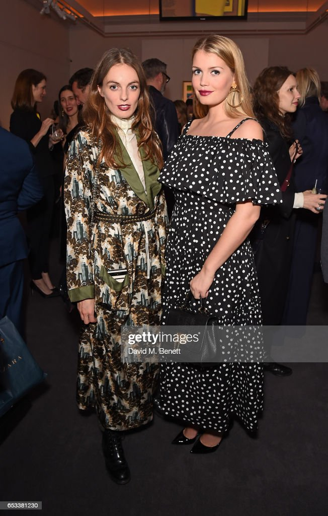 Violet Manners and Lady Kitty Spencer attend the launch of new book 'London Uprising: Fifty Fashion Designers, One City' by Tania Fares and Sarah Mower at Sotheby's on March 14, 2017 in London, England.