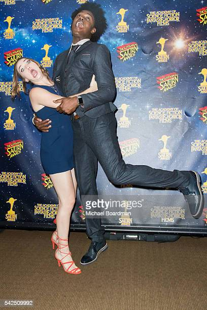 Violett Beane and Echo Kellum pose in the press room at the 42nd Annual Saturn Awards at The Castaway on June 22 2016 in Burbank California