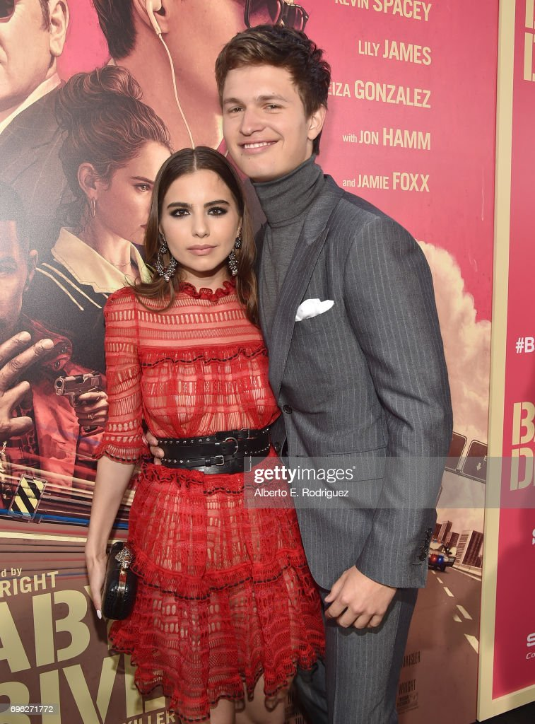 Violetta Komyshan and actor Ansel Elgortattend the premiere of Sony Pictures' 'Baby Driver' at Ace Hotel on June 14, 2017 in Los Angeles, California.