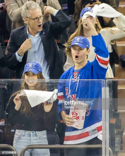 Violetta Komyshan and Ansel Elgort are seen at Madison Square Garden on April 18 2017 in New York City