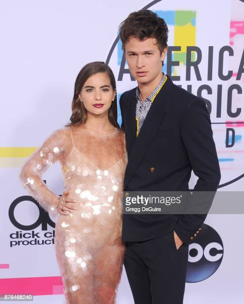 Violetta Komyshan and Ansel Elgort arrive at the 2017 American Music Awards at Microsoft Theater on November 19 2017 in Los Angeles California