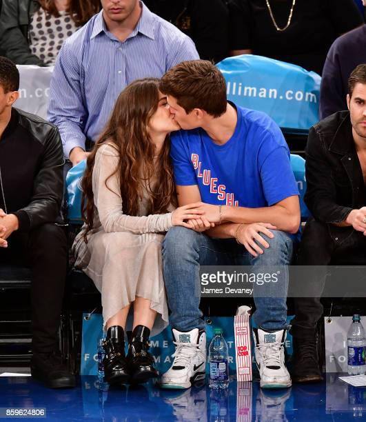 Violetta Komyshan and Ansel Elgort attend Houston Rockets Vs New York Knicks game at Madison Square Garden on October 9 2017 in New York City