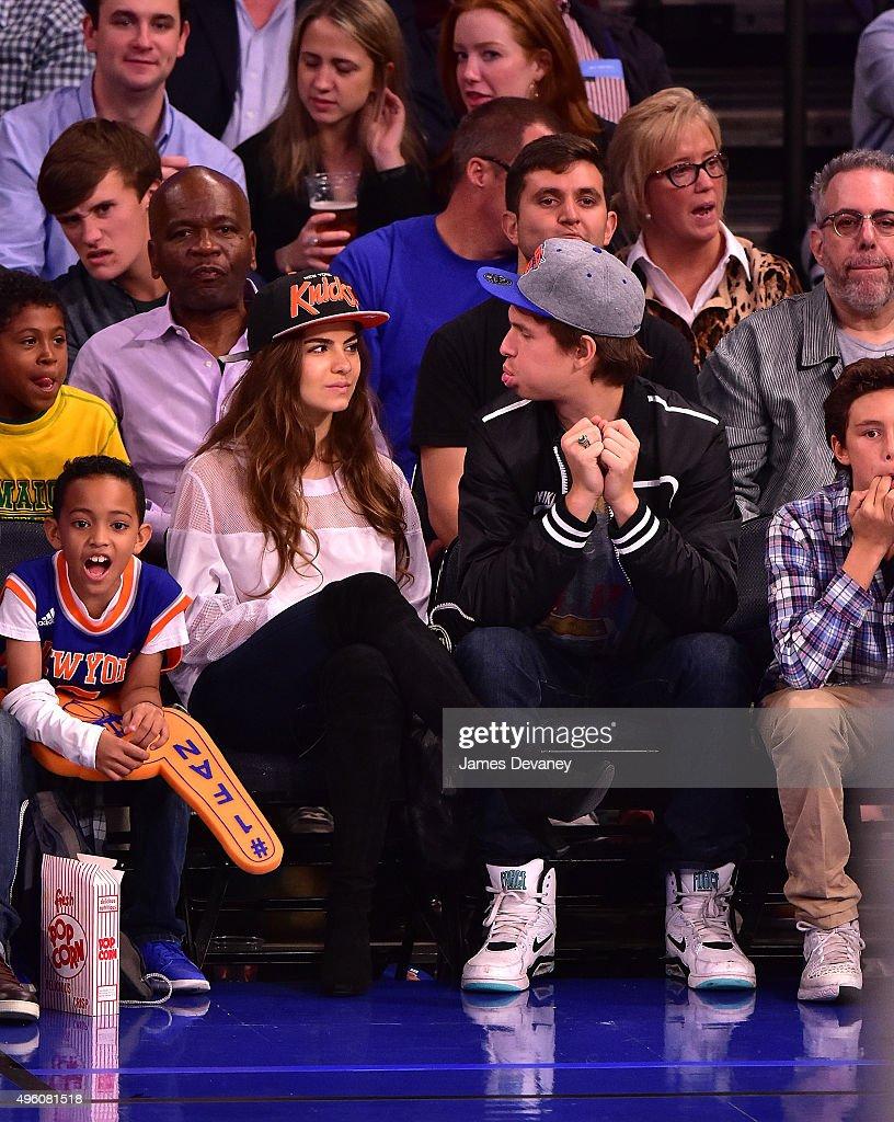 Violetta Komyshan and Ansel Elgort attend New York Knicks vs Milwaukee Bucks game at Madison Square Garden on November 6, 2015 in New York City.
