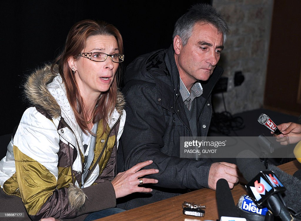 Violette (L) and Jesus Rodriguez, the parents of Chloe, a 15-year-old girl who was found alive after missing for a week, answer to journalists' questions during a press conference on November 17, 2012 in Barjac, southern France. Chloe Rodriguez, whose disappearance from her home in southern France sparked a nationwide hunt, was found alive on November 16, 2012 in the boot of a car in Oppenau near Offenburg, Germany.