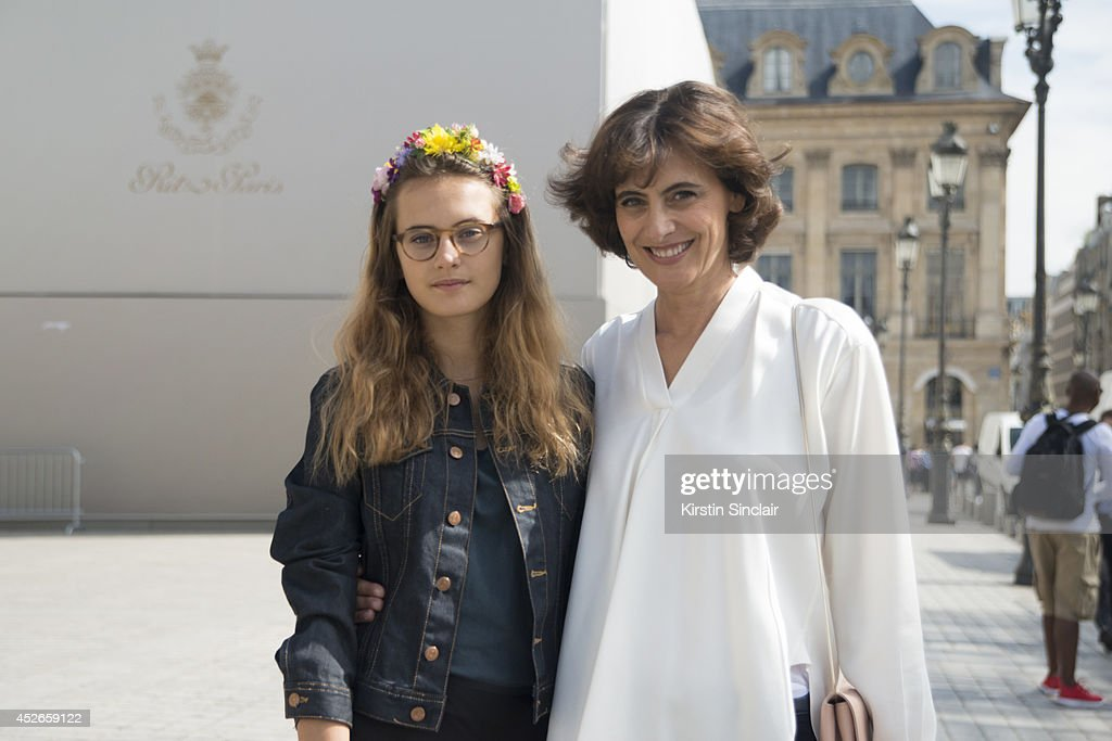 Violette De La Fressange and her mother Model Ines De La Fressange day 2 of Paris Haute Couture Fashion Week Autumn/Winter 2014, on July 7, 2014 in Paris, France.