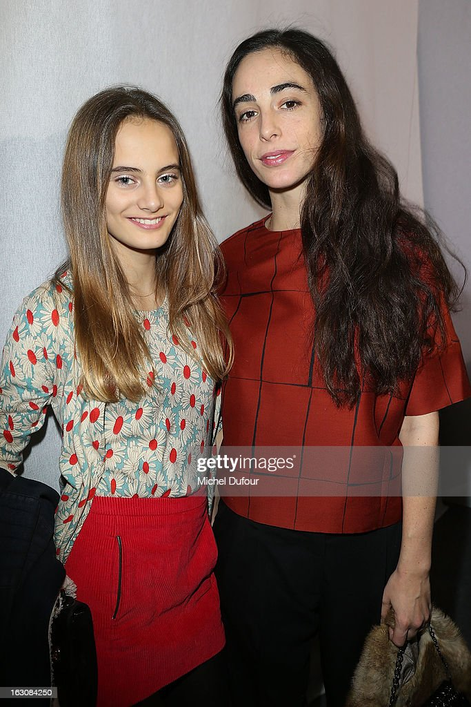 Violette d'Urso (L) and Clotilde d'Urso de Kersauson pose together backstage the Giambattista Valli Fall/Winter 2013 Ready-to-Wear show as part of Paris Fashion Week on March 4, 2013 in Paris, France.