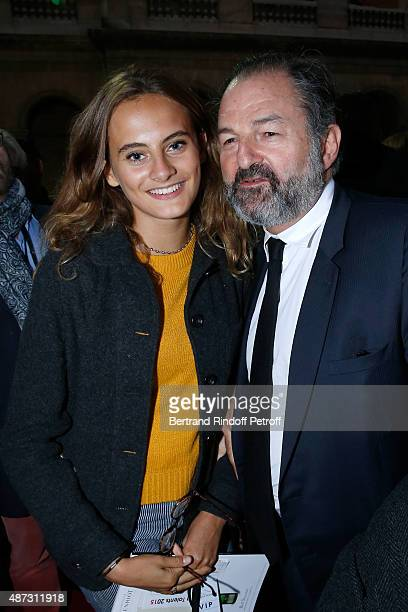 Violette d'Urso and Denis Olivennes attend 'La Traviata' Opera en Plein Air produced by Benjamin Patou 'Moma Group' Held at Hotel Des Invalides on...