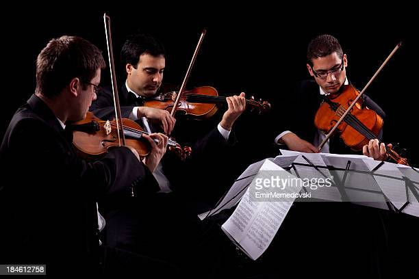Violin and violoncello players