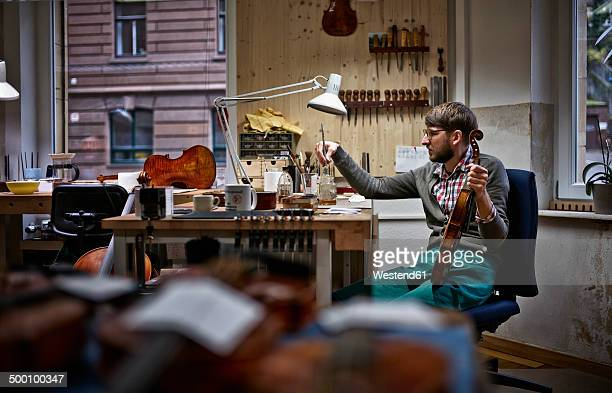 Violin maker in his workshop varnishing repaired violin
