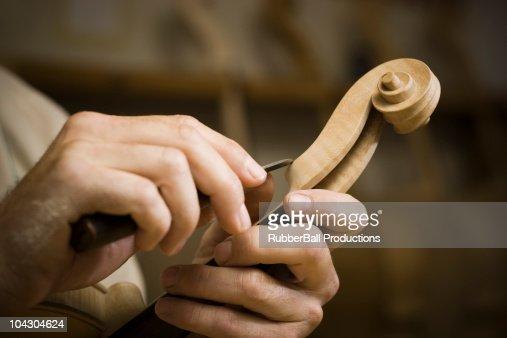 violin maker in the workshop : Stock Photo