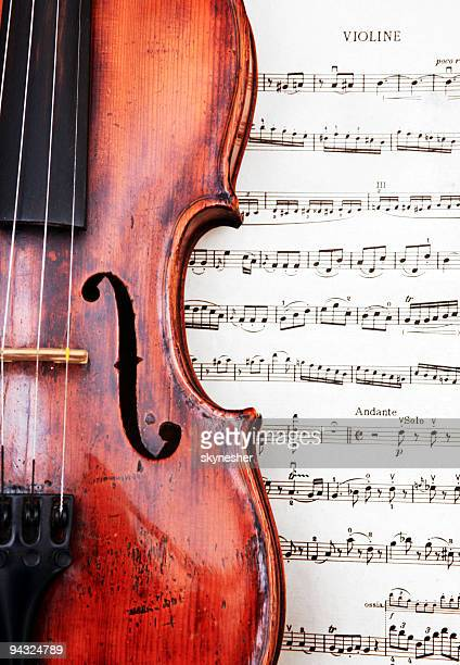 violin on classical sheet music