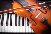 Violin and piano keyboard. Music background. Top view. Dark vignette.