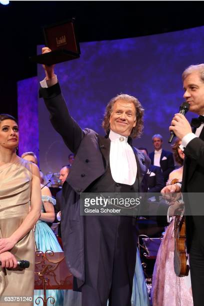 Violin player Andre Rieu and his Johann Strauss Orchestra gets an award of HansJoachim Frey during the Semper Opera Ball 2017 at Semperoper on...