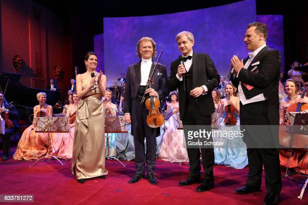 Violin player Andre Rieu and his Johann Strauss Orchestra HansJoachim Frey and Guido Maria Kretschmer during the Semper Opera Ball 2017 at Semperoper...