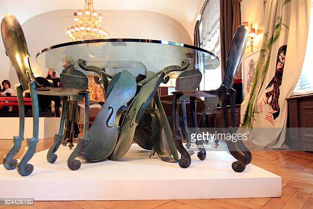 Violin table and chairs by the French artist Arman are displayed to the luxurious Art Nouveau historical Lutetia in Paris during the public...