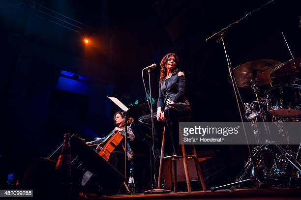 Violincellist Anja Lechner and singer Maria Pia de Vito of Il Pergolese perform live during Yellow Lounge organized by recording label Deutsche...