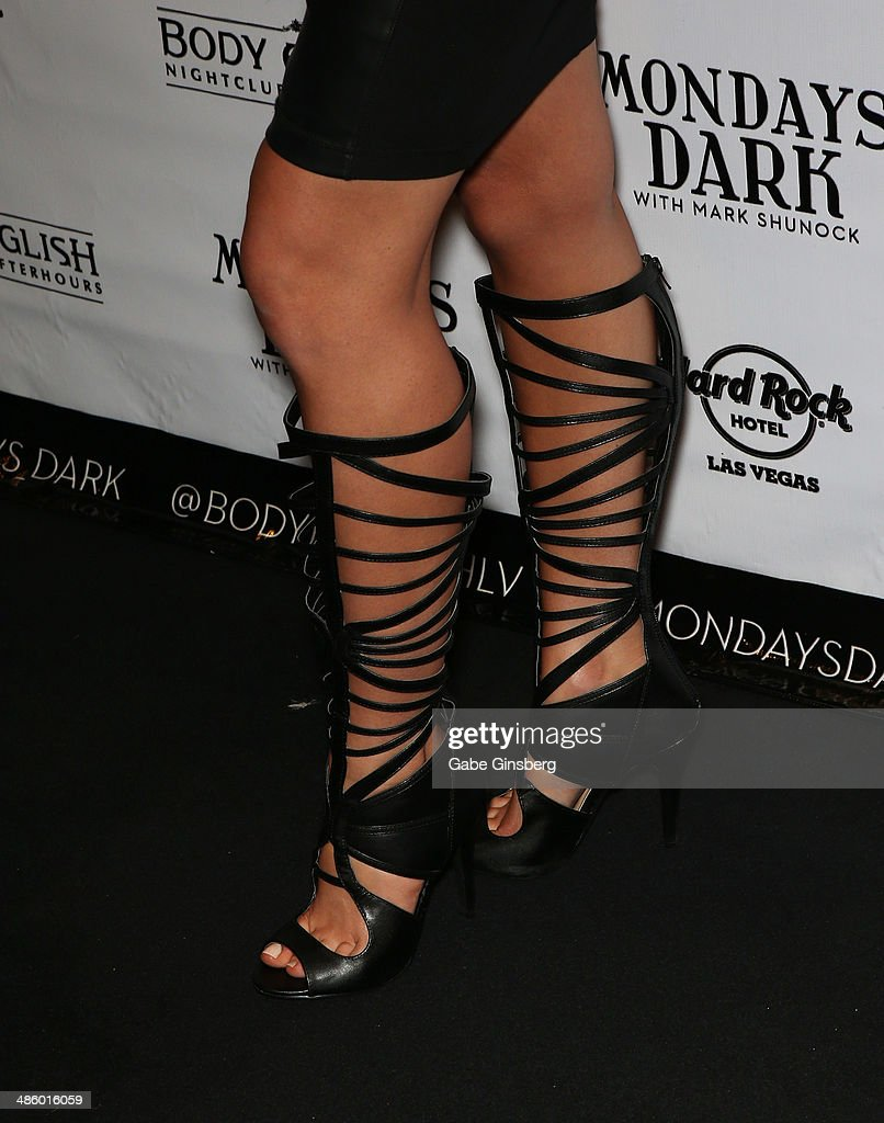Violinist Adrianna Thurber (shoes detail) of Bella Electric Strings arrives at 'Mondays Dark With Mark Shunock' benefiting the Miracle League of Las Vegas featuring music from movie soundtracks at the Body English nightclub inside the Hard Rock Hotel & Casino on April 21, 2014 in Las Vegas, Nevada.