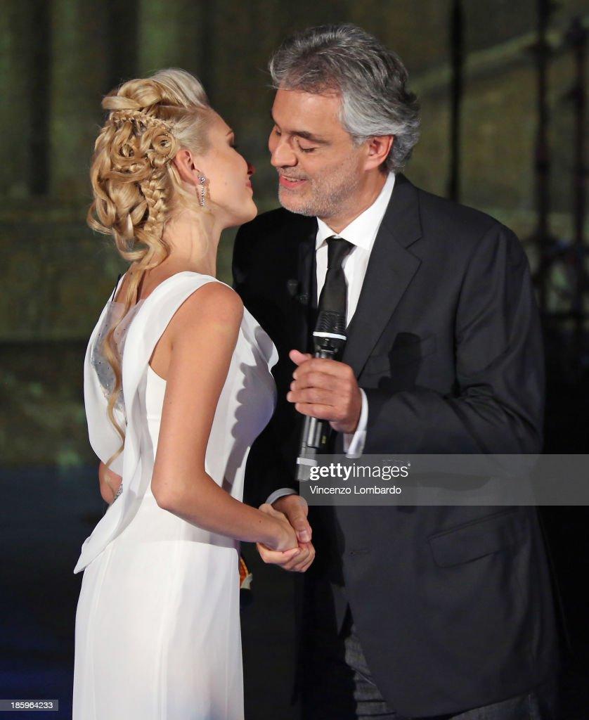 Violinist and Andrea Bocelli attends 'Che Tempo Che Fa' TV Show on October 26, 2013 in Milan, Italy.