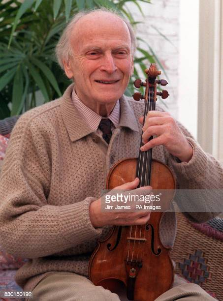 Violinist and conductor Yehudi Menuhin pictured at his London home 12/3/99 It was announced by Berlin concert promoter Jutta Adler that Menuhin has...