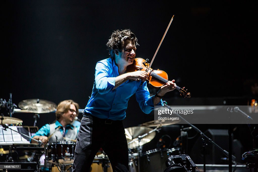 Violinist Christian Hebel performs with Josh Groban at The Palace of Auburn Hills on October 23, 2013 in Auburn Hills, Michigan.