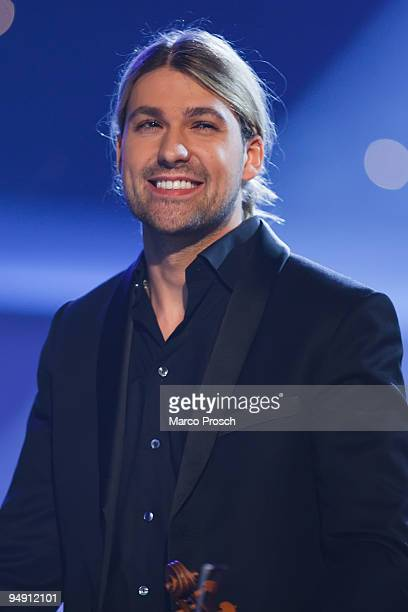Violinist David Garrett of Germany performs during the Jose Carreras Gala at the Neue Messe on December 17 2009 in Leipzig Germany