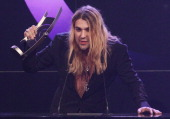 Violinist David Garrett speaks after receiving his National Male Artist Rock/Pop Award at the Echo Awards 2011 at Palais am Funkturm on March 24 2011...