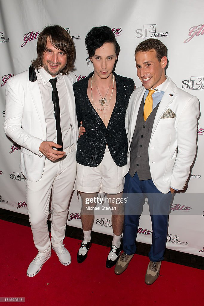 Violinist Edvin Martin, <a gi-track='captionPersonalityLinkClicked' href=/galleries/search?phrase=Johnny+Weir&family=editorial&specificpeople=208701 ng-click='$event.stopPropagation()'>Johnny Weir</a> and Victor Weir-Voronov attend <a gi-track='captionPersonalityLinkClicked' href=/galleries/search?phrase=Johnny+Weir&family=editorial&specificpeople=208701 ng-click='$event.stopPropagation()'>Johnny Weir</a> & Victor Weir-Voronov's Birthday Celebration at Soho Grand Hotel on July 27, 2013 in New York City.