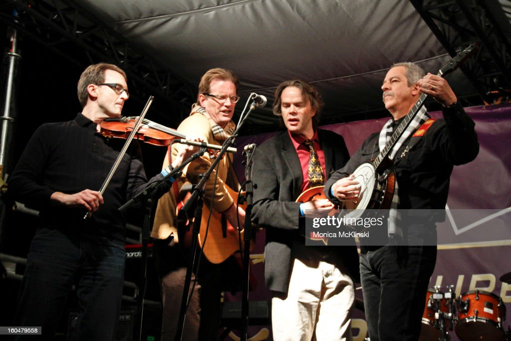 Violinist Jeff Bagwell, Guitarist Grant Ligon, Mandolinist Paul Williams and Banjoist John N of The High Ground Drifters perform during the Verizon Super Bowl Boulevard at Woldenberg Park on January 31, 2013 in New Orleans, Louisiana.