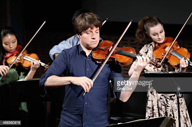 Violinist Joshua Bell performs with YoungArts Alumni at the New York premiere screening of the HBO special 'Joshua Bell YoungArts MasterClass'...