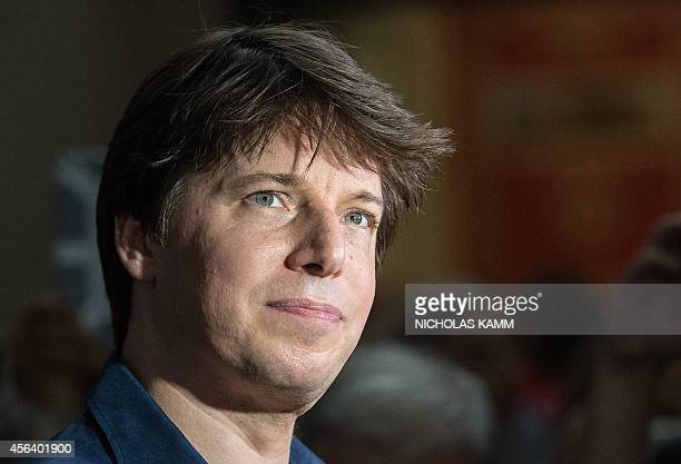 US violinist Joshua Bell speaks to the press after performing with musicians from the National YoungArts Foundation at Washington's Union Station on...