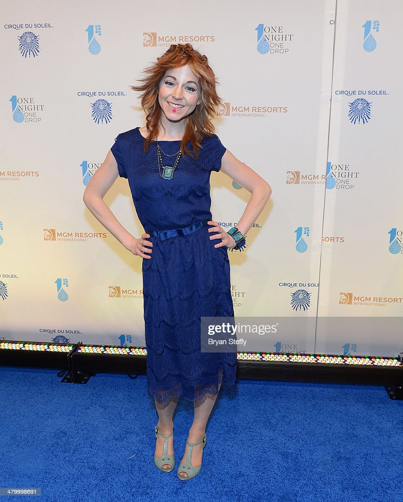 Violinist Lindsey Stirling arrives at the 2nd annual 'One Night for One Drop' at Aureole Las Vegas at the Mandalay Bay Resort and Casino on March 21, 2014 in Las Vegas, Nevada.