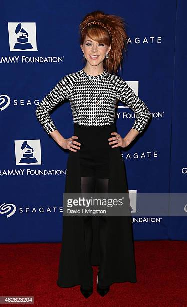Violinist Lindsey Stirling attends the 57th Annual GRAMMY Awards' 17th Annual GRAMMY Foundation Legacy Concert at the Wilshire Ebell Theatre on...