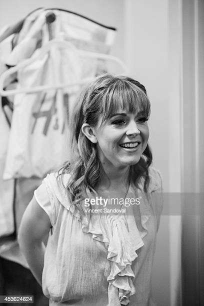 Violinist Lindsey Stirling backstage during her music video shoot for 'Master of Tides' at The Americana at Brand on August 14 2014 in Glendale...