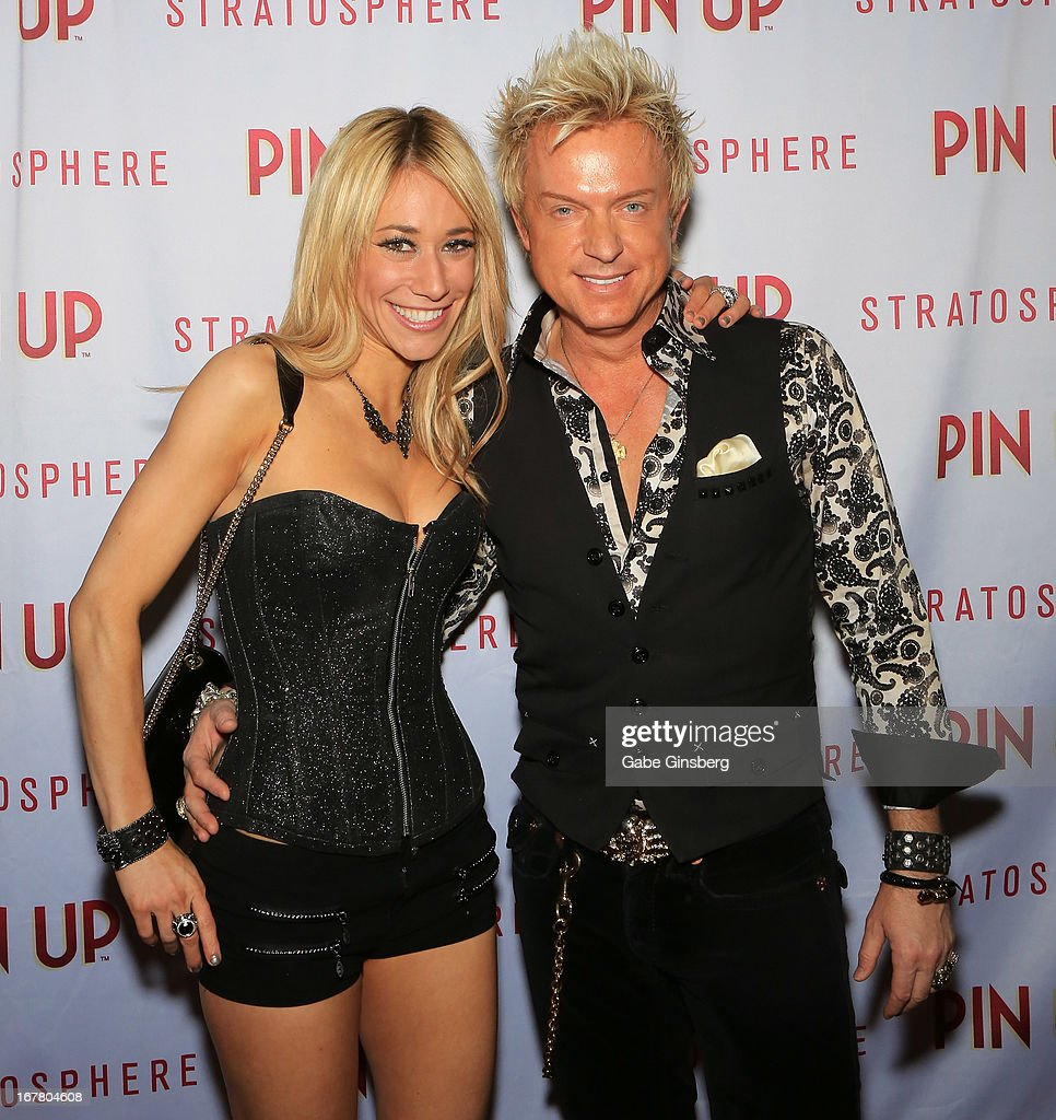 Violinist Lydia Ansel (L) and entertainer Chris Phillips arrive at the premiere of the show 'Pin Up' at the Stratosphere Casino and Hotel on April 29, 2013 in Las Vegas, Nevada.
