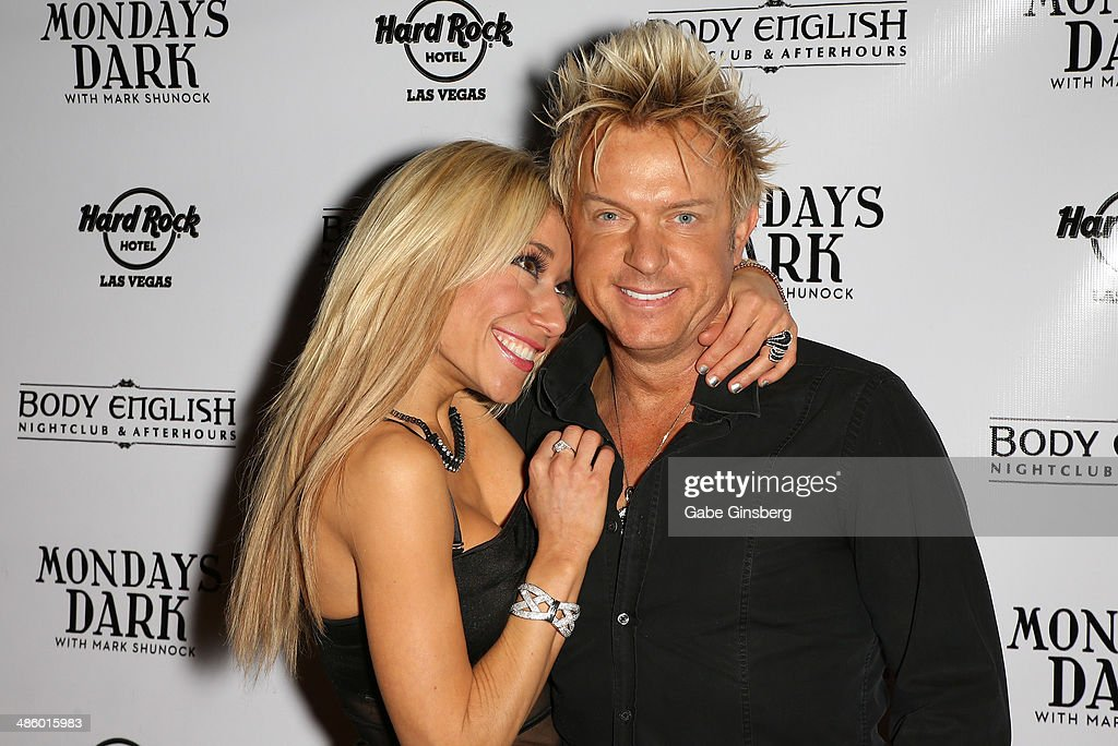 Violinist Lydia Ansel (L) and singer Chris Phillips of Zowie Bowie arrive at 'Mondays Dark With Mark Shunock' benefiting the Miracle League of Las Vegas featuring music from movie soundtracks at the Body English nightclub inside the Hard Rock Hotel & Casino on April 21, 2014 in Las Vegas, Nevada.
