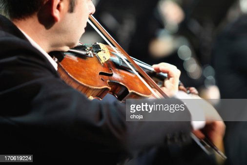 Violinist playing at the concert