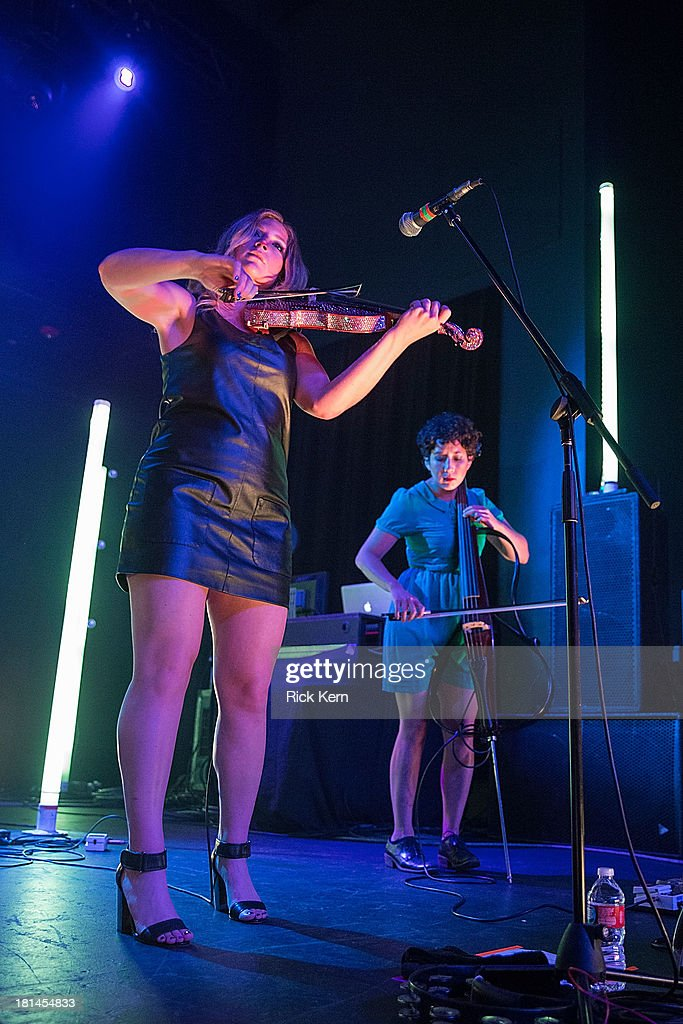 Violinist Rebecca Zeller and cellist Clarice Jensen of Ra Ra Riot perform in concert at Emo's on September 20, 2013 in Austin, Texas.