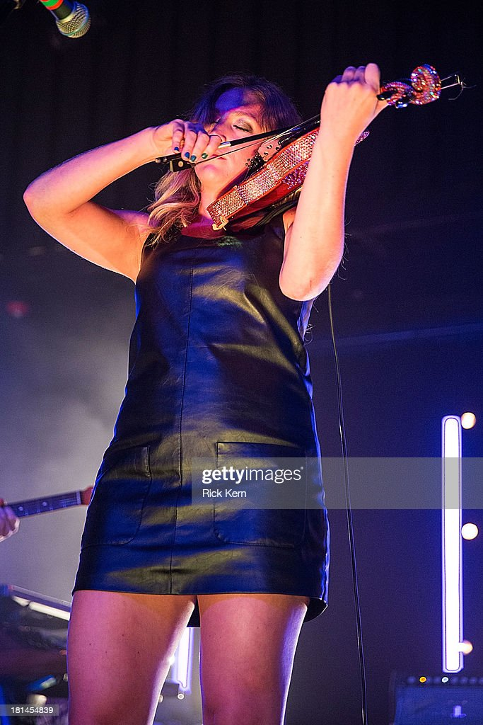 Violinist Rebecca Zeller of Ra Ra Riot performs in concert at Emo's on September 20, 2013 in Austin, Texas.
