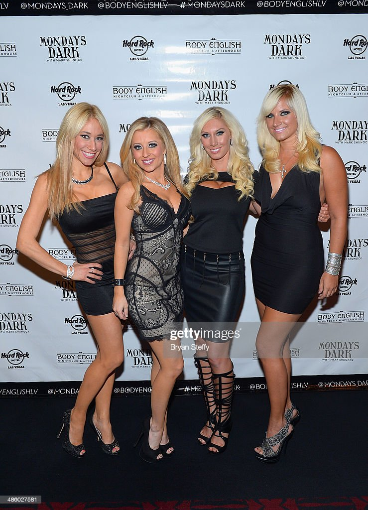 Violinists Lydia Ansel, Nina DiGregorio, Adrianna Thurber and cellist Ashley Korak of Bella Electric Strings arrive at 'Mondays Dark With Mark Shunock' benefiting the Miracle League of Las Vegas featuring music from movie soundtracks at the Body English nightclub inside the Hard Rock Hotel & Casino on April 21, 2014 in Las Vegas, Nevada.