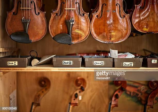Violins and cellos in a violin maker's workshop