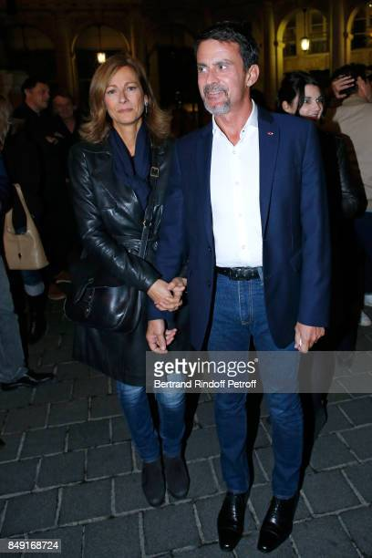 Violonist Anne Gravoin and her husband politician Manuel Valls attend 'La vraie vie' Theater Play at Theatre Edouard VII on September 18 2017 in...