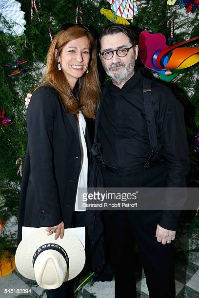 Violonist Anne Gravoin and Stylist Franck Sorbier pose after the Franck Sorbier Haute Couture Fall/Winter 20162017 show as part of Paris Fashion Week...