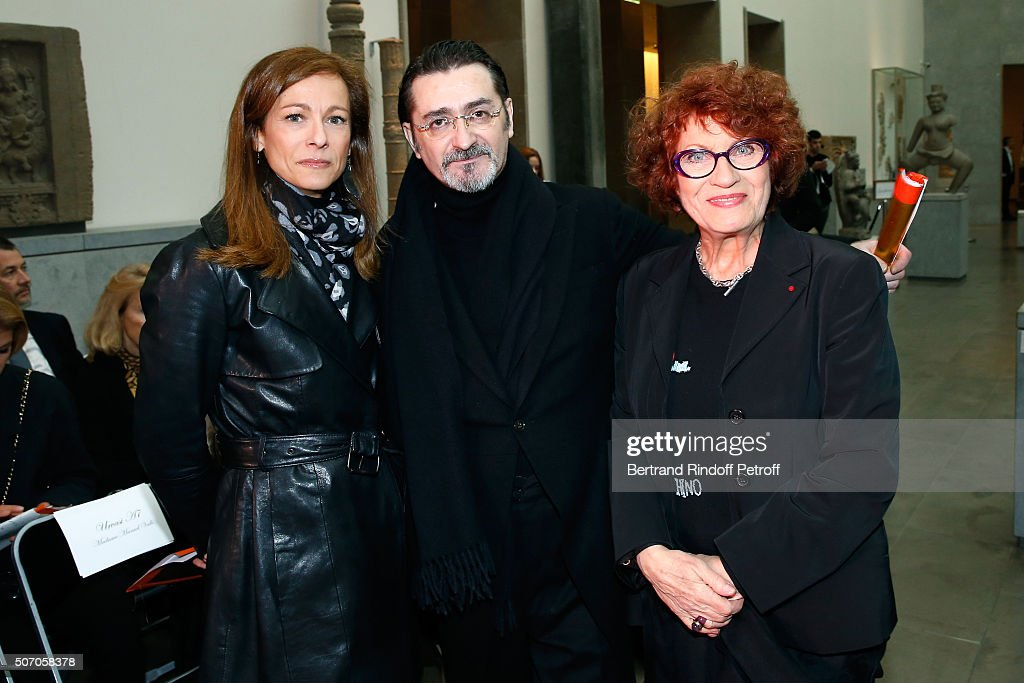 Violonist Anne Gravoin, Stylist Franck Sorbier and Actress Andrea Ferreol attend she Franck Sorbier Spring Summer 2016 show as part of Paris Fashion Week. Held at Musee National Des Arts Asiatiques - Guimet on January 27, 2016 in Paris, France.