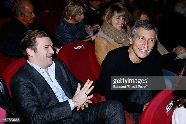 Violonist Renaud Capucon TV Host Nagui with his wife actress Melanie Page attend the Private Screening of the Movie 'Tout Peut Arriver' at Mac Mahon...