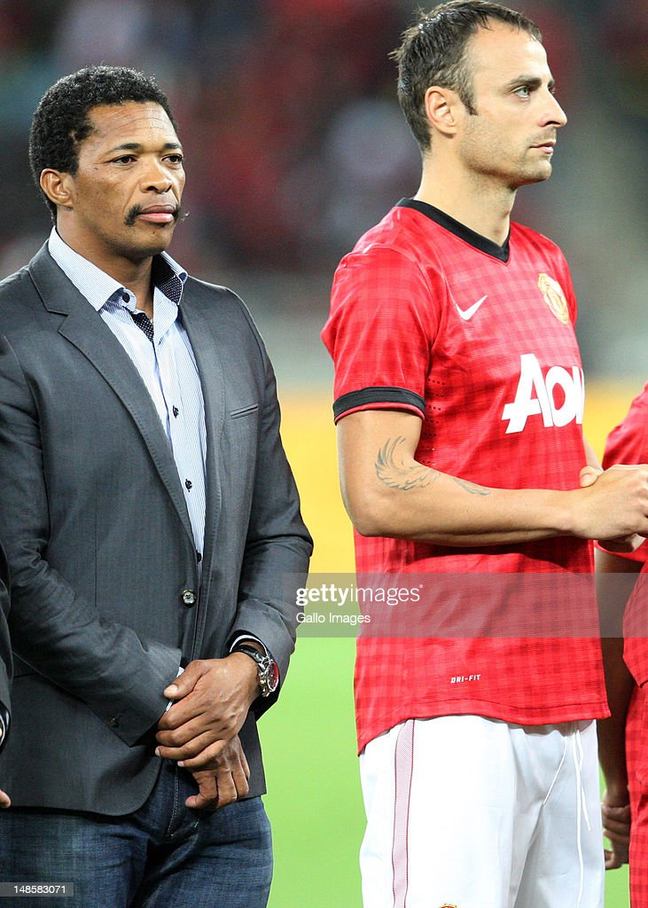 Vip Makhaya Ntini next to Dimitar Berbatov during the MTN Football Invitational match between Amazulu and Manchester United from Moses Mabhida Stadium on July 18, 2012 in Durban, South Africa.