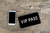 Vip Pass on digital tablet computer. Business and technology concept.