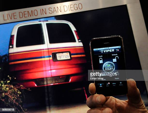 Viper SmartStart is demonstrated unlocking a vehicle in San Diego via an iPhone at the 2010 International Consumer Electronics Show at the Las Vegas...