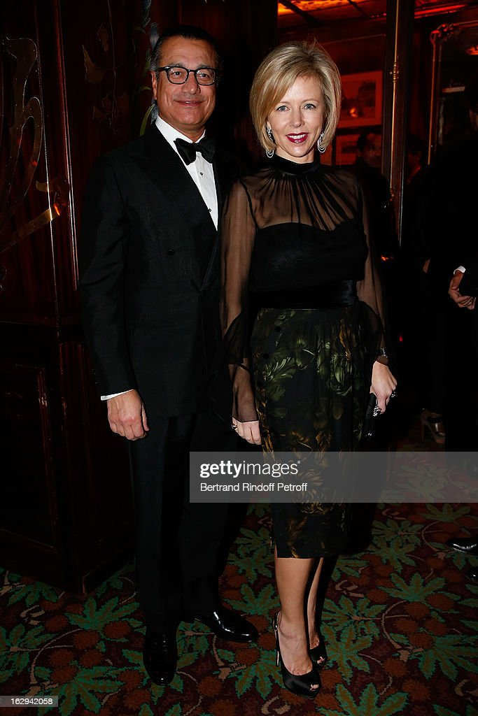 Vipin Sareen and Rebecca Carcelle attend Pierre Pelegry's birthday party at Maxim's on March 1, 2013 in Paris, France.