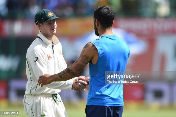 Virat Kohli Captain of India and Steven Smith Captain of Australia during the day 4 of their fourth test cricket match in Dharmsala